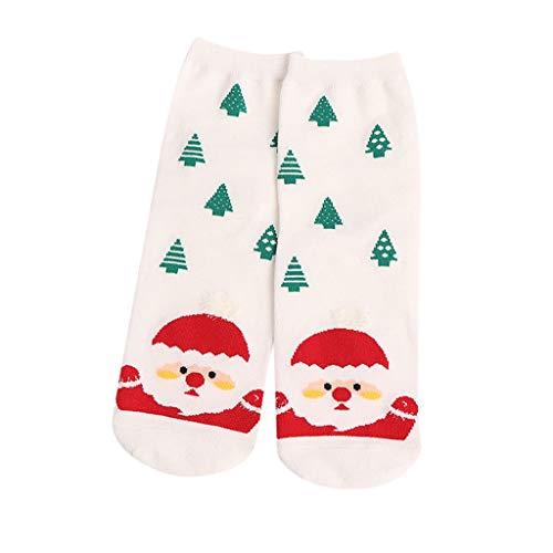Lazzboy Frauen Weihnachtssocken Nette Mittlere Socken Ausgangsbodensocken Weihnachtssocken Weihnachtsmotiv Weihnachten Festlicher Weiche Winter Warm(Weiß)