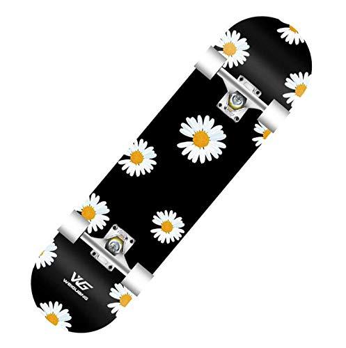 LSGMC Skateboard - 80CM * 20CM Komplettes 9-lagiges kanadisches Ahornholz-Tricks Professionelles Skateboard für die Balance-Entwicklung für Anfänger/Erwachsene/Jugendliche/Kinder,A