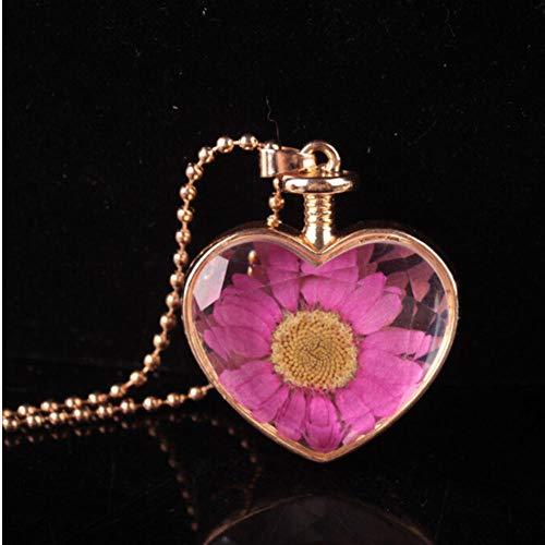 sufengshop hart gevormd glas parfum fles waar gedroogd bloem hanger ketting ronde kraal ketting vrouwen trui ketting sieraden