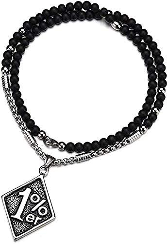 Yiffshunl Halskette Retro Mode Halskette Punk Rock Kragen Digitaler Edelstahl Diamant Fahrrad Motorrad Anhänger Gothic Style