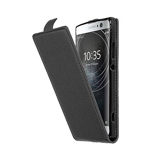 Cadorabo Hülle für Sony Xperia XA2 - Hülle in Oxid SCHWARZ – Handyhülle aus Strukturiertem Kunstleder im Flip Design - Hülle Cover Schutzhülle Etui Tasche