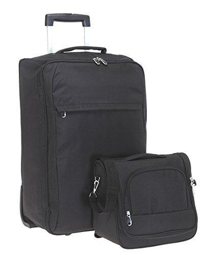 SPEAR® Reise Koffer Set Light 60 cm + Beautycase Reisekoffer Trolley + Flüssigkeitenbeutel (Black/Schwarz)