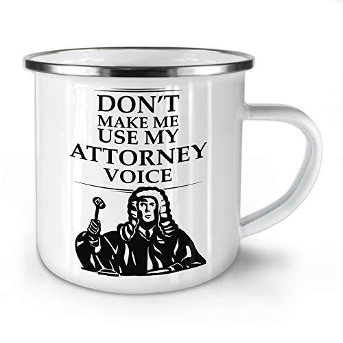 Wellcoda Anwalt Rechtsanwalt Emaille-Becher, Stimme - 10 Unzen-Tasse - Kräftiger, griffiger Griff, Zweiseitiger Druck, Ideal für Camping und Outdoor