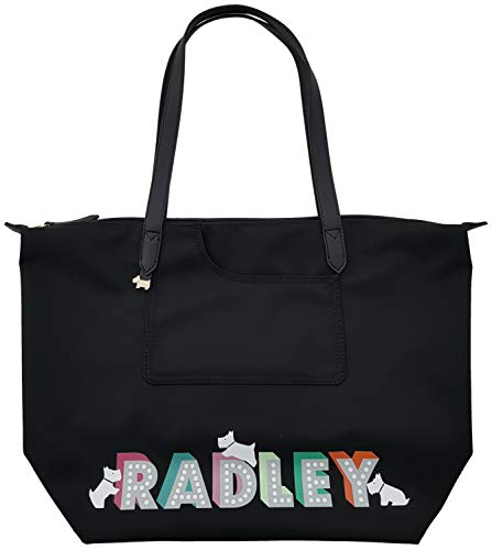 Radley Large Nylon Pocket Essentials London Lights Zip Top Tote Shopper Beach Bag in Black
