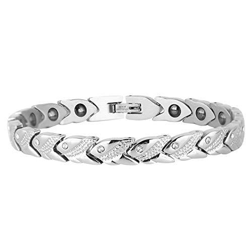 Pulsera magnética de acero de titanio de moda, para hombre, con diamantes de imitación, pulsera simple y accesorio de joyería para mujer