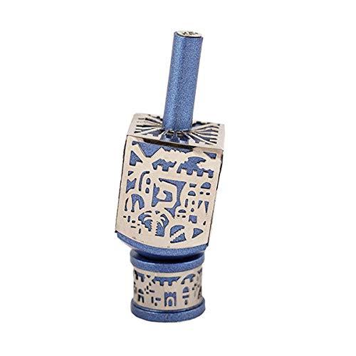 Yair Emanuel Decorative Dreidel with Jerusalem Cutout and Stand | Hanukkah Sevivon Gift Jewish Decorations (Blue, Small)