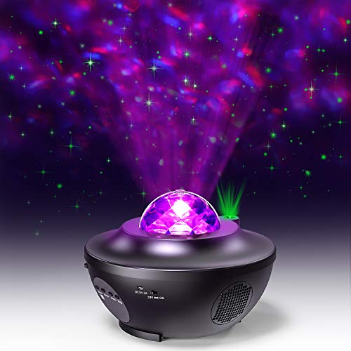 Star Projector, 2 in 1 Ocean Wave Starry Light Projector LED Nebula Cloud for Kids Bedroom/Game Rooms/Home Theatre/Night Light Ambiance with Bluetooth Music Speaker, with Remote Control, EURPMASK