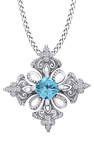 AFFY Princess Simulated Aquamarine & Spakling White Cubic Zirconia Irish Celtic Cross Pendant Necklace 14k White Gold Over Sterling Silver with 18' Chain
