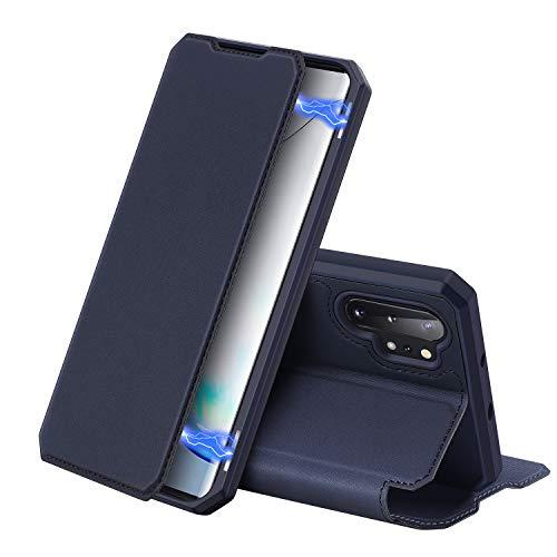 DUX DUCIS Hülle für Samsung Galaxy Note 10 Plus / Note10+ / 5G, Premium Leder Magnetic Closure Flip Schutzhülle handyhülle für Samsung Galaxy Note 10 Plus / Note10+ / 5G Tasche (Blau)