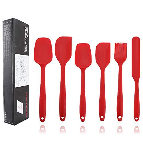 Juyillu - Espátula de cocina de silicona, 6 piezas, antiadherente, juego de utensilios de cocina para cocinar, hornear y mezclar (rojo)
