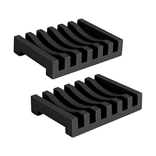 Topsky, 2 portasapone in silicone nero lungo durevole con sistema di drenaggio autosigillante, portasapone per cucina, doccia, bagno, design
