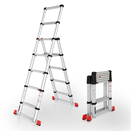 LUISLADDERS Telescoping Ladder Extension Ladder A-Frame Aluminum One-Button Retraction Telescopic Ladder Multi-Purpose 6.5FT Collapsible Ladder for Household Daily or Hobbies 330 Lb Capacity