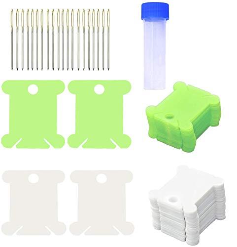 CKANDAY Paquete de 200 Tarjetas organizadoras de Hilo de Bordar, 20 Agujas de Punto de Cruz, Paquete de Tubo, Organizador de bobinas de Hilo de plástico, Soporte de Hilo DMC, Color Blanco y Verde