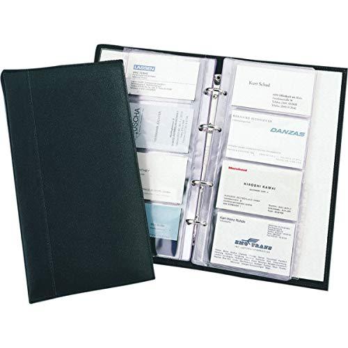 Alassio Visitenkarten Ringbuch aus feinem Leder, mit Register A-Z und Klarsichteinlagen für 120 Karten Visitenkartenhülle, 25 cm, Schwarz