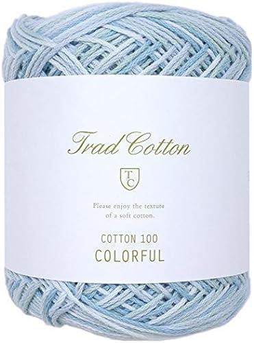 Fil 100 en laine de coton Couleurée à l'intérieur Col.102 bleu 25 g 108 m 5 bille