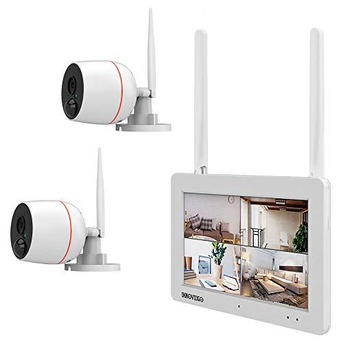 Videoüberwachung WLAN Komplettset 4-Kanal Netzwerkrekorder mit 17,78 cm (7