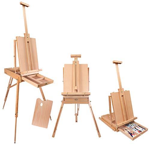 Kurtzy Ezelstandaard -190 cm Franse Ezel -Verstelbare Opvouwbare Grote Houten Statief-ezel voor Kunstenaars met Opbergvak en Pallet -Voor Canvas tot 44 cm - Ideaal voor Schilderen, Schetsen en Tekenen