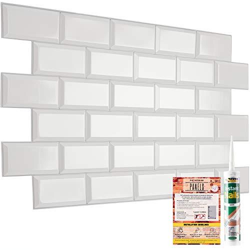 Paneles decorativos de pared azulejos de PVC efecto 3D revestimiento de plástico para cocina (6, azulejos de metro blancos)