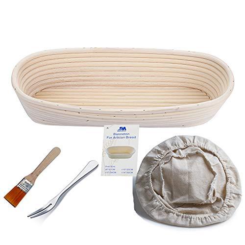 Gärkörbchen oval, ø 35 cm x 15 cm, Höhe 8cm Banneton Proof Korb für Brot und Teig frei Bürste (1000g Teig)+ frei Zwischenlage-Abdeckung +frei Brotgabel