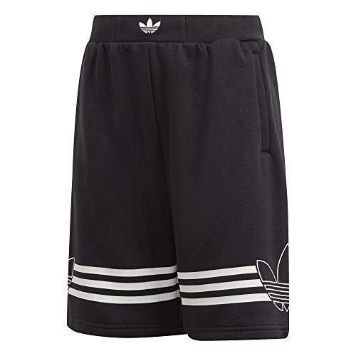 adidas Outlines - Pantaloncini da Bambino, Bambino, Pantalone Corto, DW3863_128, Nero/Bianco, 128