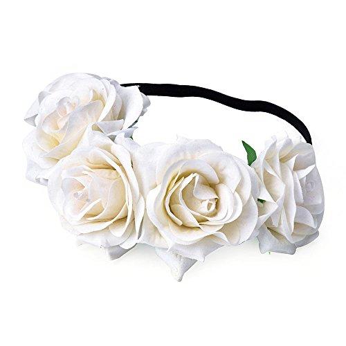 DreamLily Rose Flower Crown Wedding Festival Headband Hair Garland Wedding Headpiece (1-Ivory)