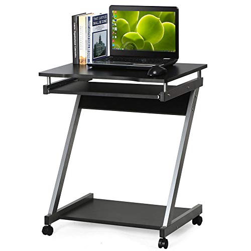 Dripex Mobile Computer Desk Z-Shaped with Sliding Keyboard Wood PC Table Laptop Desk Furniture Study Workstation for Home Office, Black, 60 x 48 x 73 cm