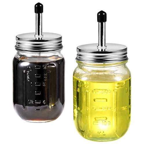 Olive Oil Vinegar Dispenser Set - Pint 16 oz Mason Jar Glass Olive Oil Cruet Bottle Stainless Steel Pour SpoutRustic Farmhouse Kitchen Decor  2-Pack