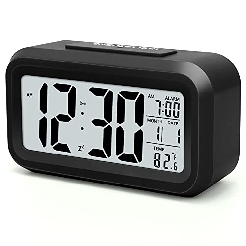 Digital Alarm Clock,Battery Operated Small Desk Clocks,with Smart Night Light,Date,Indoor Temperature,LCD Electronic Clock for Bedroom