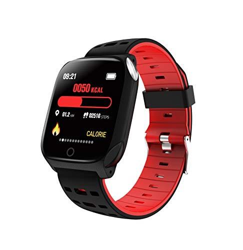 Adoolla Reloj inteligente Ip68 resistente al agua, seguimiento de la frecuencia cardíaca, reloj adecuado para teléfonos móviles Android e iOS, color rojo