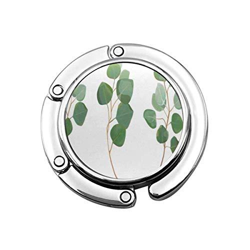 Faltbare Geldbörse Handtaschenhalter, Geldbörsenhaken für Autotisch, Folle Handtaschenaufbewahrung Eukalyptus Sier Dollar Grün Kaugummibaum Laub Natürliche Blätter Zweige Designer Tropisches Bündel