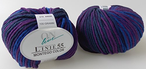 100 gr. Montego Color Fb. 210 dalie/blau mel., m. Merino, Linie 55, Brandneu, Online, Herbst/Winter 2014/15