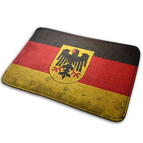 German Flag With German Eagle Head Bath Mat Polyester Front Door Mat Bathroom Rugs Carpet For Inside Outdoor 15.7 X 23.5in