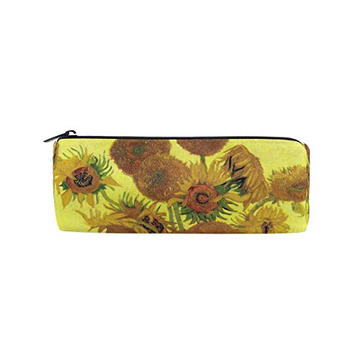 Bonipe - Astuccio motivo pittura ad olio di girasoli, portapenne, matite, cancelleria, pochette per cosmetici, con cerniera