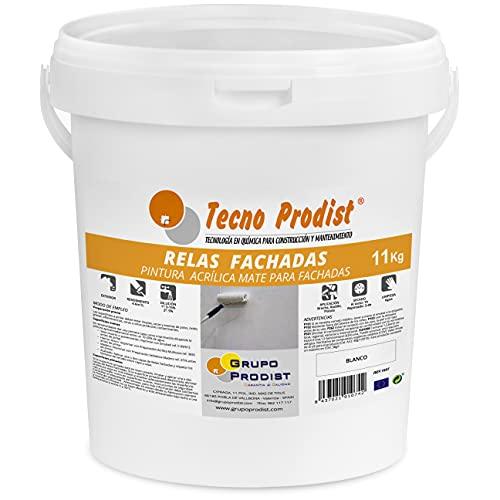 RELAS FACHADAS de Tecno Prodist - 11 Kg (BLANCO) Pintura para Fachadas Impermeabilizante al agua - Blanco Mate - A Rodillo o brocha - Pintura de Calidad - Fácil Aplicación