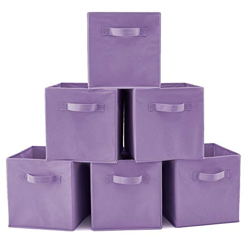 EZOWare Set of 6 Foldable Fabric Basket Bin Collapsible Storage Cube For Nursery, Toys Organizer, Shelf Cabinet (Purple)