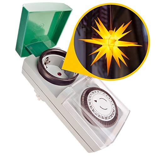 Zeitschaltuhr Aussenbereich - Zauberhafter Lichterglanz automatisch geregelt – Zeitschaltuhr Tempo, einfach zu bedienen, besonders robust – Zeitschaltuhr mechanisch, analog, IP44