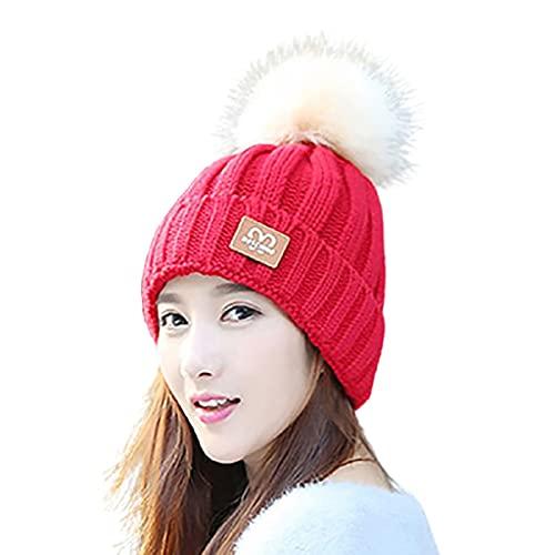 Sombrero de Punto Grueso Invierno de Invierno de Color sólido Sombrero de Punto Espesar al Velo Alineado Sombreros de Invierno adecuados para 22-22.8 Pulgadas (elástico) (Color : Red)