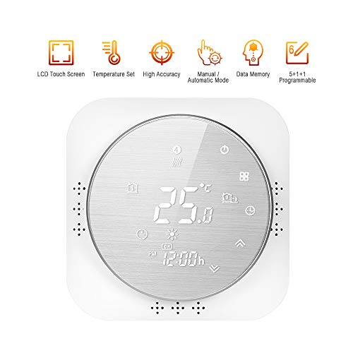 Adaskala Termostato programable 95-240V 5 + 1 + 1 Pantalla táctil LCD de Seis períodos con retroiluminación Termorregulador de calefacción de Caldera Controlador de Temperatura