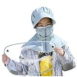 Cappello Protettivo Facciale Maschera per Il Viso con Visiera Rimovibile Estivo Bambino Bambine Berretto con Cover Trasparente per Anti-sputi Anti-UV Hat Protezione Solare (Blu)