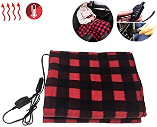 Moonase Electric Car Blanket- Heated 12 Volt Fleece Travel Throw for Car and RV-Great for Cold Weather, Traveling Camping,Tailgating, and Emergency Kits 58''X 40'' (Blue and White) (red Black) - coolthings.us