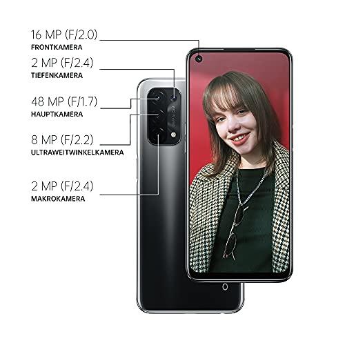 OPPO A54 5G Smartphone, 48 MP KI-Vierfachkamera mit Ultra Nacht Video, 6,5 Zoll 90 Hz FHD+ Neo-Display, 5.000 mAh Akku, 5G-Prozessor, 64 GB Speicher, 4 GB RAM, ColorOS 11.1, Dual-SIM, Fluid Black - 6