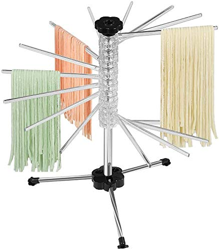 IIKIKU Pasta Evangelists Pasta Drying Rack,Collapsible with Scraper,16 Rods anti slip Pasta Dry Rack-Holding Up to 4.5 Pounds for Noodles and Pastas (Transparent)