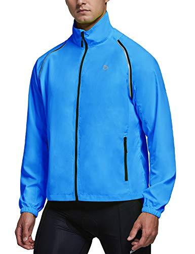BALEAF Men's Cycling Jackets Running Jacket Windbreaker Reflective Convertible Sleeveless Vest Lightweight High Visibility Blue Size L