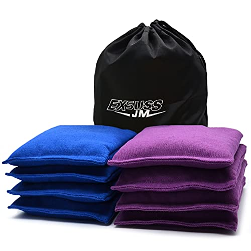 JMEXSUSS Regulation Size 16 Oz. Cornhole Bags 26 Colors Available, Premium All-Weather Resistant Duck Cloth Cornhole Bean Bags, Set of 8 Professional Corn Hole Bags for Outdoor Tossing Game