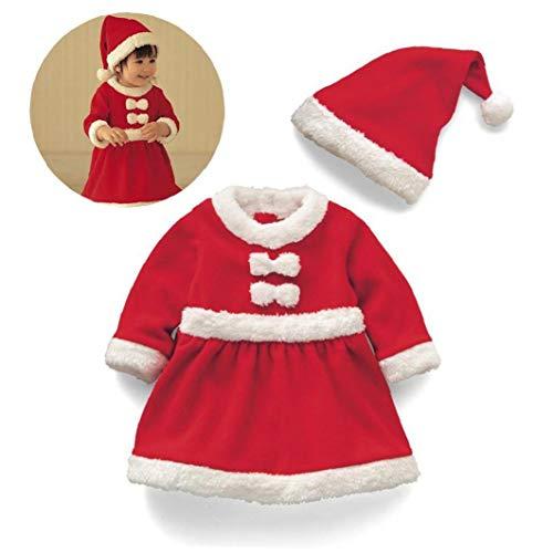 """1 Sistema Infantil De Navidad Santa Navidad La Ropa De Bebé Alquiler De Vestuario De Invierno De Manga Larga Vestido De Niña Para El Bebé 16-24 Meses (90 Cm / 35"""")"""