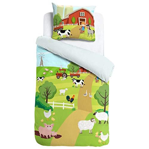 ESPiCO Bettwäsche Sleep and Dream Bauernhof Tiere Schweine Schafe Kühe Traktor Hühner Pferde Bunt Motiv Design Renforcé, Größe:135 cm x 200 cm