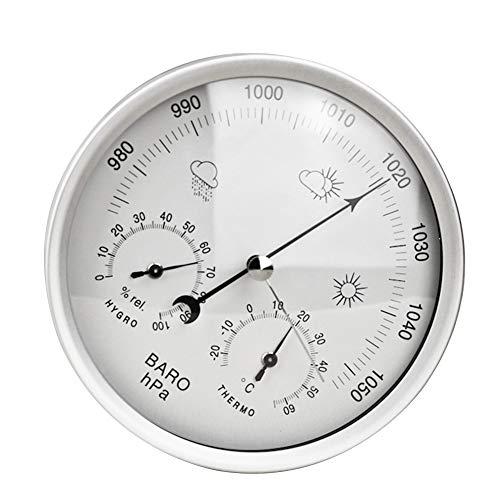 Sdkmah9 Barometer, 3-in-1, multifunktionale Messung, Wetterstation, Hygrometer, Temperaturmesser, Messgerät, Wandmontage, Wetterglas, zum Aufhängen (Gold), nicht null, silber, Free Size