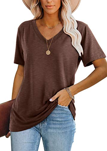 WIHOLL V Neck Shirts for Women Casual Short Sleeve Basic Tops Brown M