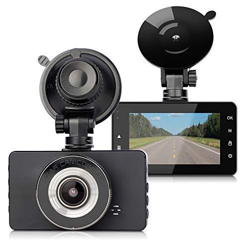 Cámara de Coche - FAGORY 1080P HD Dash CAM 3.0' IPS Lentes con Visión Nocturna, Grabadora 170°Ángulo con WDR, G-Sensor, Detección de Movimiento, Grabación en Bucle, Monitor de Aparcamiento