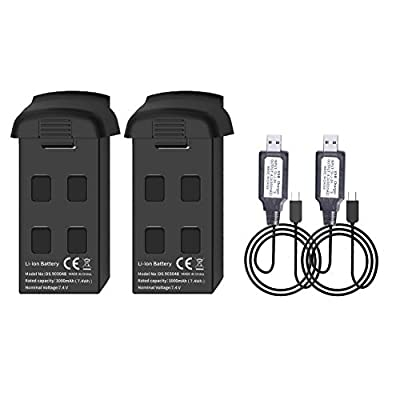 SNAPTAIN SP500 GPS Drone Battery 7.4V 1000mAh Modular Rechargeable Li-po Battery (2 Piece) with 2 Charging Cables for SNAPTAIN SP500 GPS Foldable FPV WiFi Drone